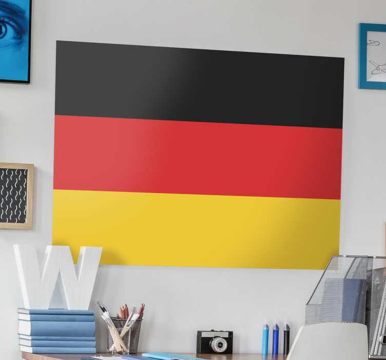 TenVinilo. Vinilo decorativo bandera Alemania. Pegatina con la enseña del país germano y su escudo, para amantes de la geografía, cultura e historia del estado germano.