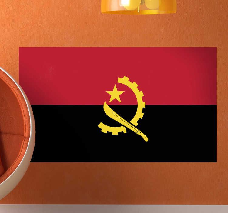TenStickers. Autocolante decorativo bandeira de Angola. Autocolantes decorativos de países da bandeira nacional de Angola que entrou em uso na independência em 11 de novembro de 1975.