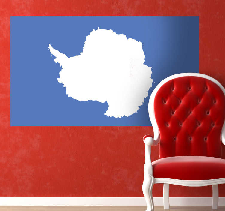 TenStickers. Sticker decorativo bandiera Antartide. Adesivo murale che raffigura la bandiera del continente antartico situato al polo sud. Fu disegnata nel '96 da Graham Bartram che si ispiró alla bandiera dell'ONU.