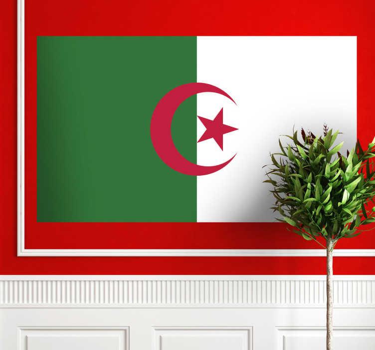 TenStickers. Wandtattoo Flagge Algerien. Dekorieren Sie Ihr Zuhause mit dieser tollen Flagge von Algerien als Wandtattoo! Damit zeigen Sie Ihre Leidenschaft zu dem Land