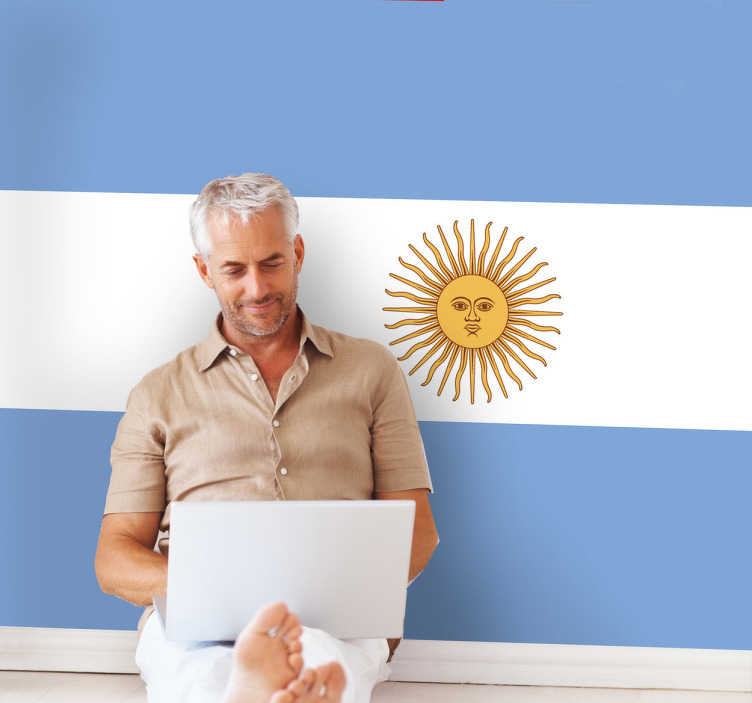 TenStickers. Flag of Argentina Wall Sticker. A decorative vinyl decal illustrating the flag of the South American country with its capital Buenos Aires, Argentina.