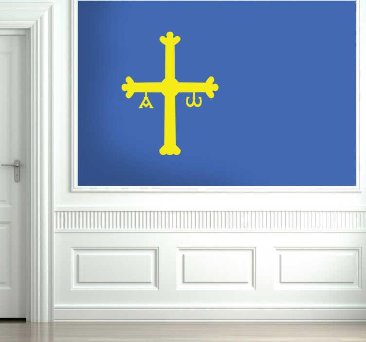 TenVinilo. Vinilo decorativo bandera Asturias. Emblema característico de este región norteña de España, un adhesivo especial para todo asturiano.