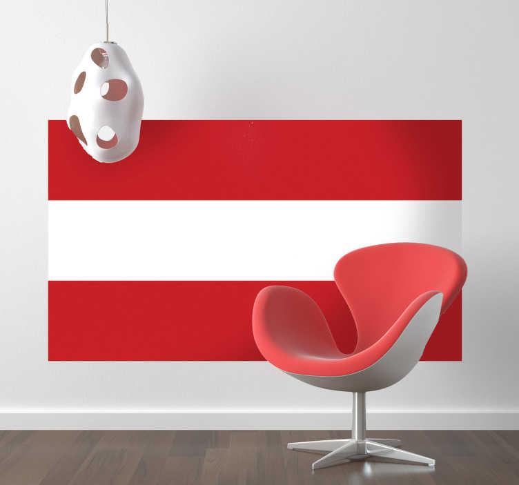 TenStickers. Muursticker vlag Oostenrijk. Deze sticker omtrent de vlag van Oostenrijk, ideaal voor grote fans van dit land. Afmetingen aanpasbaar. Voordelig personaliseren.