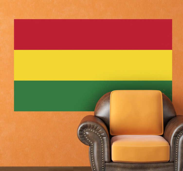 TenStickers. Muursticker vlag bolivia. Deze sticker illustreert de vlag van Bolivia, ideaal voor grote fans van dit land. Afmetingen aanpasbaar. Ook voor ramen en auto's.