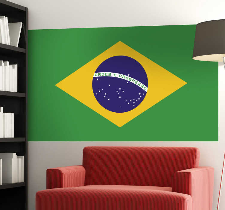 TenStickers. Brazil Flag Wall Sticker. Wall Stickers - Wall mural of the Brazilian flag. The destination for Rio de Janeiro, Sao Paulo, Samba, Copacabana and more.
