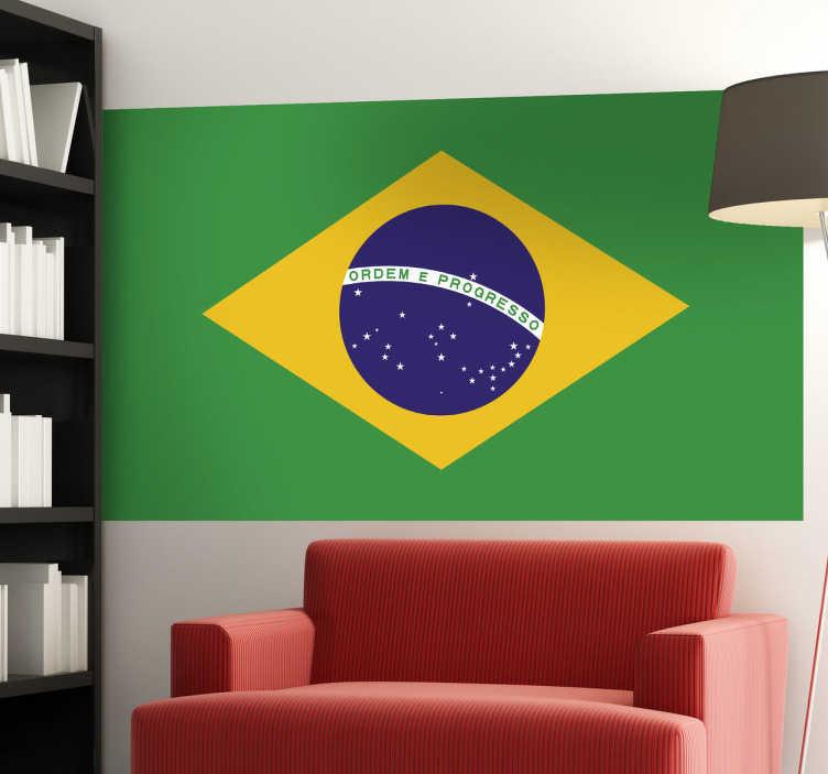 TenStickers. Brazil Flag Wall Sticker. Wall Stickers - Wall mural of the Brazilian flag. The destination for Rio de Janeiro, Sao Paulo, Samba, Copacabana and more.