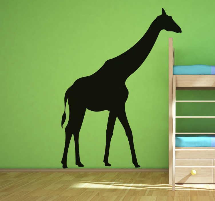 TenStickers. Nalepka za stene silhueta žirafa. Stenska nalepka z žirafo za okrasitev spalnice ali igralnega prostora malčkov! Fantastična silhueta, ki jo bodo imeli radi vaši otroci.
