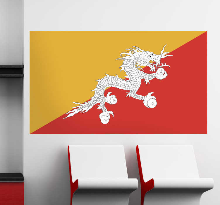 TenStickers. Muursticker vlag Bhutan. Deze muursticker komt van de Bhutanische vlag. Is Bhutan uw favoriete vakantiebestemming en bent u fan van deze cultuur?