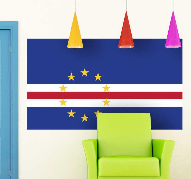 TenStickers. Sticker decorativo bandiera Cabo Verde. Adesivo murale che raffigura la bandiera del noto stato-arcipelago situato nell'Atlantico a largo delle coste del Senegal.