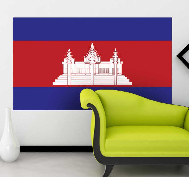 TenStickers. Muursticker vlag Cambodja. Deze sticker illustreert de vlag van Cambodja, ideaal voor grote fans van dit land. Afmetingen aanpasbaar. Eenvoudig aan te brengen.