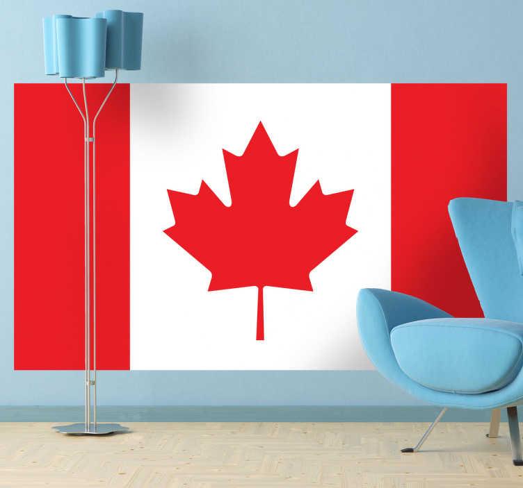 TenStickers. Naklejka flaga Kanady. Naklejka winylowa przedstawiająca flagę Kanady.  Na czerwono-biało-czerwonym prostokącie widnieje czerwony liść klonu.