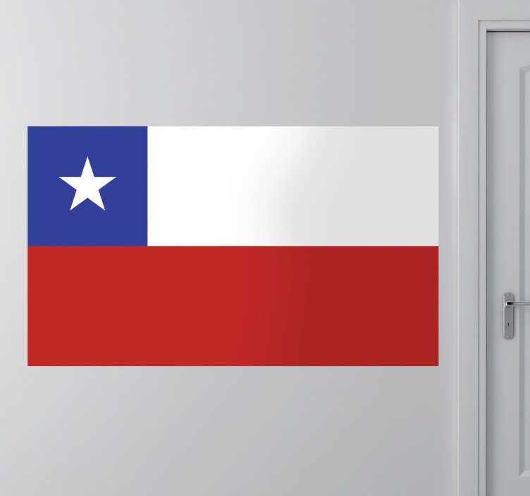 TenStickers. Muursticker vlag Chili. Deze sticker illustreert de vlag van Chili, ideaal voor grote fans van dit land. Afmetingen aanpasbaar. Ook voor ramen en auto's.