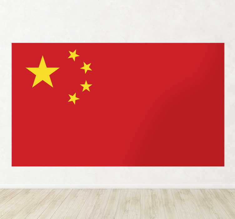 TenStickers. China Flag Sticker. Decals - Mural of the Chinese flag. The flag of the People´s Republic of China is a red background with five golden stars.