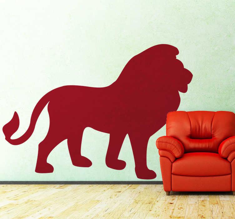 TenStickers. Vinil autocolante leão. És fã de animais? E do rei da selva? Temos o perfeito vinil autocolante para ti com esta ilustração de uma silhueta de um Leão.