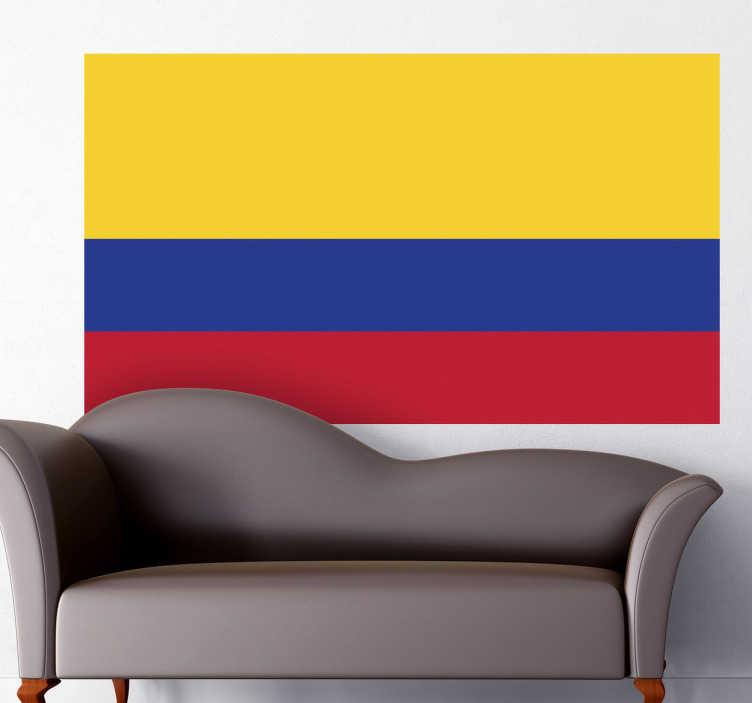 TenStickers. Naklejka flaga Kolumbii. Naklejka na ścianę z flagą Kolumbii. Dekoracja ścienna do każdego wnętrza.