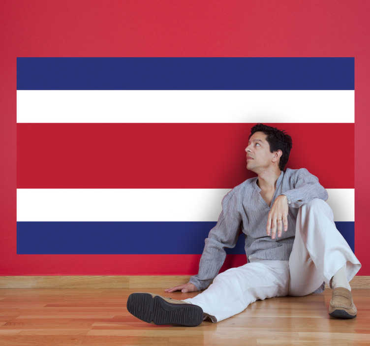 TenStickers. Autocollant mural drapeau Costa Rica. Stickers adhésif du drapeau du Costa Rica qui a pour capitale San José, pour tous les amoureux de ce pays.