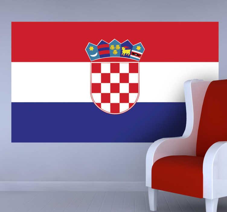 TenStickers. Sticker vlag Kroatië. Deze muursticker met de vlag van Kroatië is ideaal voor elke grote fan van dit land. Afmetingen aanpasbaar. Express verzending 24/48u.