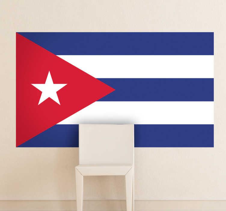 TenStickers. Autocollant mural drapeau Cuba. Stickers adhésif du drapeau de Cuba qui a pour capitale La Havane, pour tous les amoureux de ce pays.