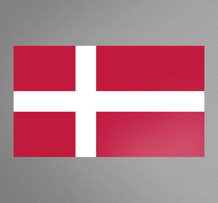 TenVinilo. Vinilo decorativo bandera Dinamarca. Adhesivo con el emblema característico de este país nórdico con capital en Copenague.