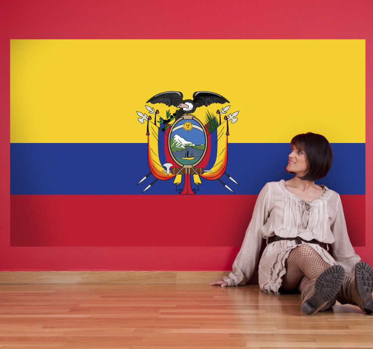 TenStickers. Naklejka z rysunkiem flaga Ekwadoru. Naklejka na ścianę z flagą Ekwadoru. Dekoracja ścienna do każdego wnętrza. Posiadamy flagi wszystkich państw.  Wysyłka w 24/48h!