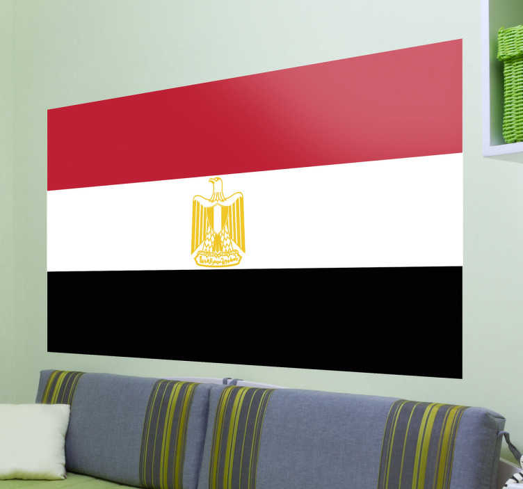 TenStickers. Egypt Flag Sticker. Decals - The Egyptian flag. Ideal for homes or businesses. Suitable for decorating gadgets and appliances. Available in various sizes.