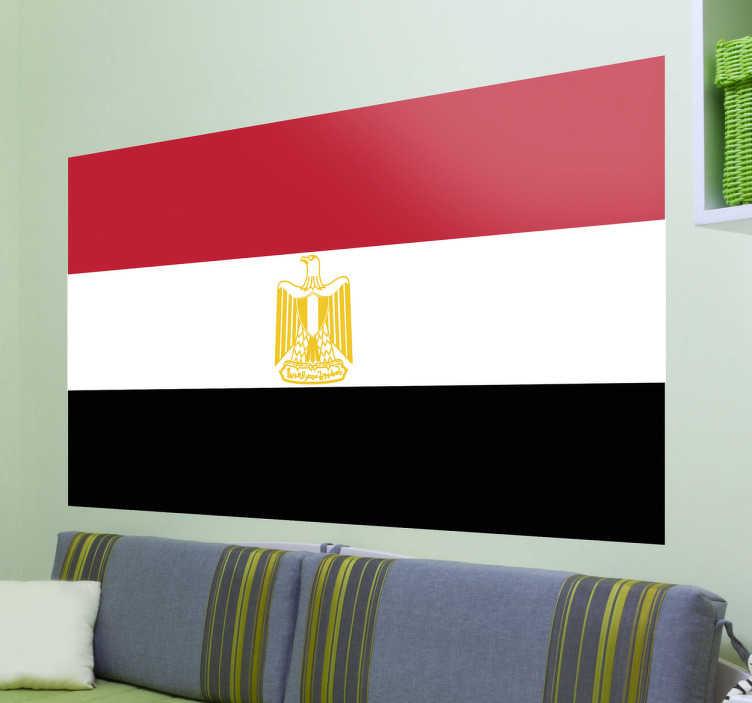 TenStickers. Autocollant mural drapeau Egypte. Stickers adhésif du drapeau de l'Egypte qui a pour capitale Le Caire, pour tous les amoureux de ce pays.
