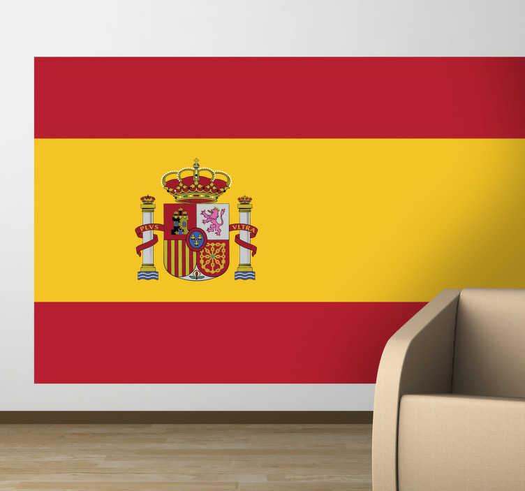 TenVinilo. Vinilo decorativo bandera España. La rojigualda en adhesivo, símbolo patrio del estado español con el escudo de característico.