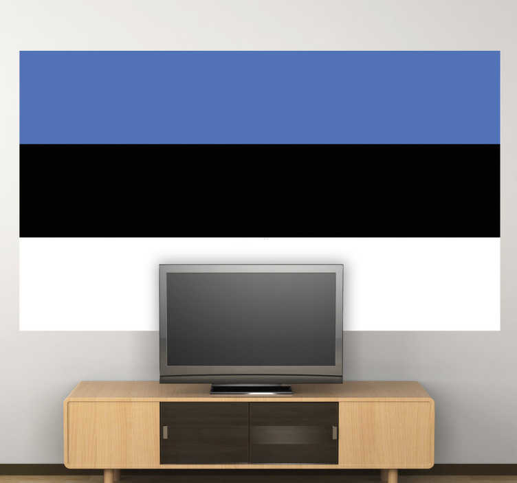 TenStickers. Autocollant mural drapeau Estonie. Stickers adhésif du drapeau de l'Estonie qui a pour capitale Tallinn, pour tous les amoureux de ce pays.