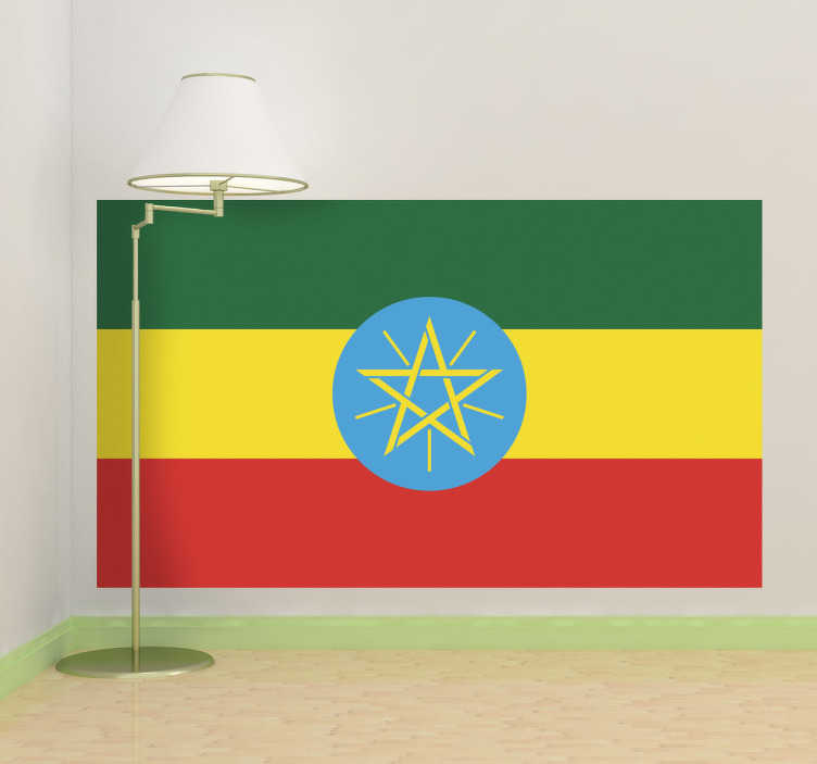 TenStickers. Autocollant mural drapeau Ethiopie. Stickers adhésif du drapeau de l'Ethiopie qui a pour capitale Addis-Abeba, pour tous les amoureux de ce pays.