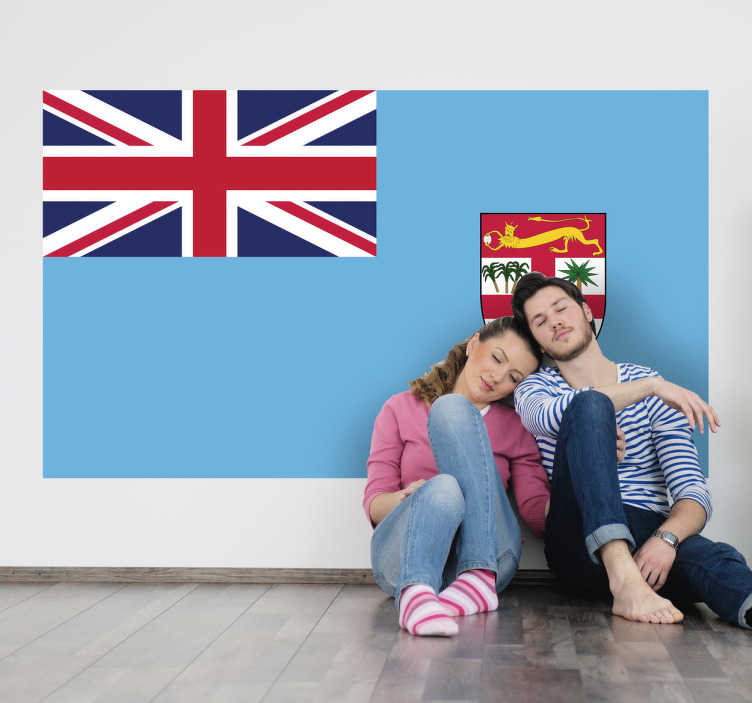 TenStickers. Sticker decorativo bandiera Fiji. Adesivo murale che raffigura la bandiera del noto stato arcipelago situato ad est dell'Australia nell'oceano Pacifico.