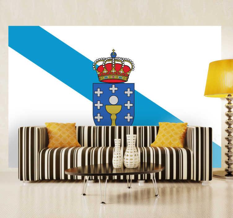 TenStickers. Wandtattoo Flagge Galicien. Dekorieren Sie Ihr Zuhause mit dieser tollen Flagge von Galicien als Wandtattoo! Damit zeigen Sie Ihre Leidenschaft zu dem Land