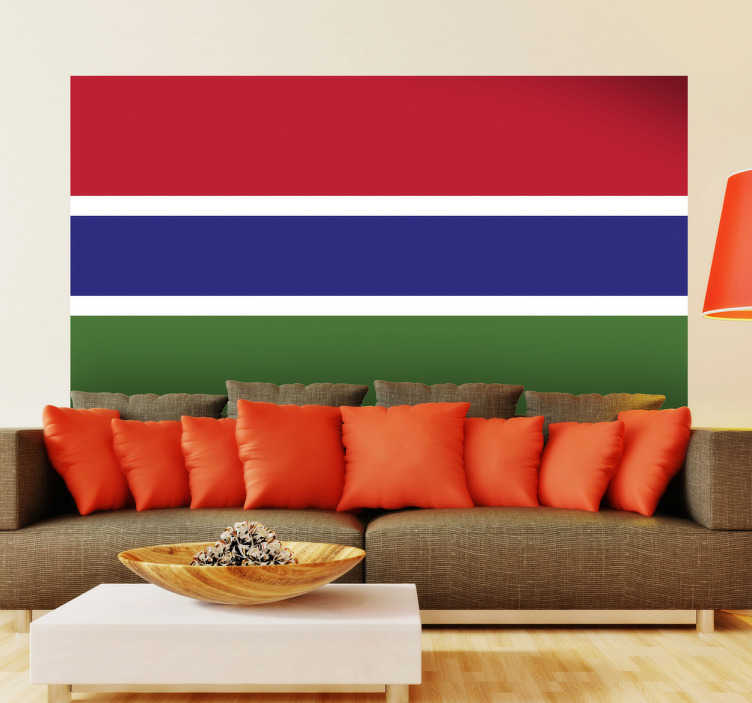 TenStickers. Gambia Flag Sticker. Decals - The Gambian flag. Ideal for homes or businesses. Suitable for decorating gadgets and appliances. Available in various sizes.