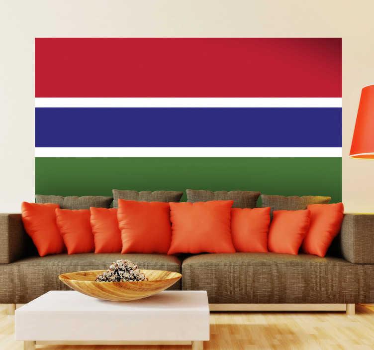 TenStickers. Sticker decorativo bandiera Gambia. Adesivo murale che raffigura la bandiera nazionale della nota repubblica africana che si trova affacciata sull'Atlantico ed incastonata nel territorio del Senegal.
