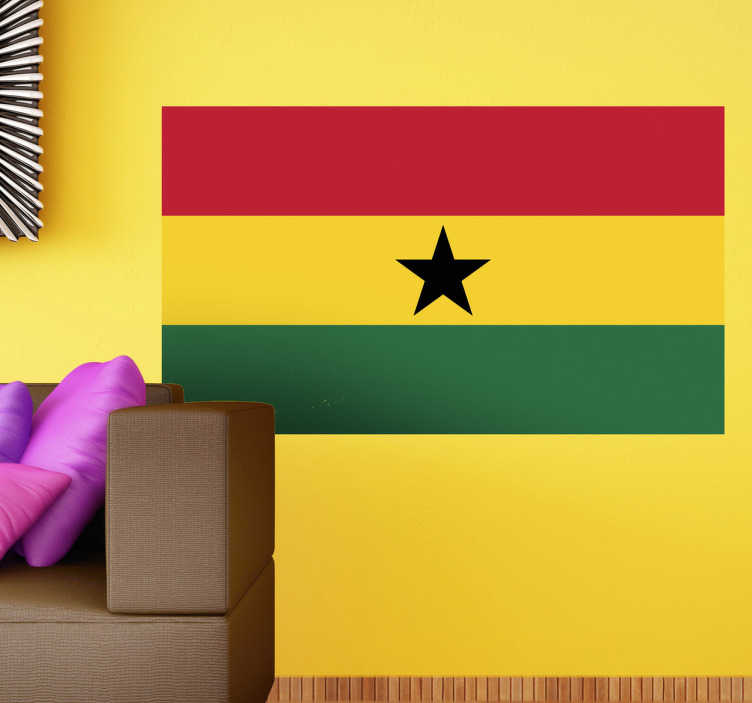 TenStickers. Naklejka flaga Ghany. Naklejka na ścianę z flagą Ghany przedstawiająca barwy panafrykańskie.Dekoracja ścienna do każdego wnętrza.
