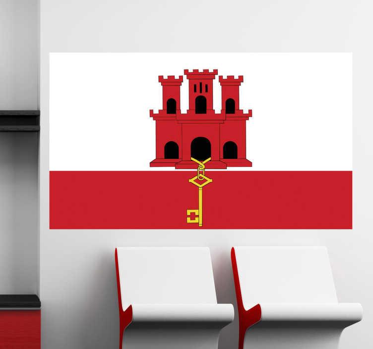 TenStickers. Autocollant mural drapeau Gibraltar. Sticker drapeau de Gibraltar où prédominent les couleurs blanche et rouge pour tous ce qui aiment ce territoire anglais au Sud de l'Espagne.