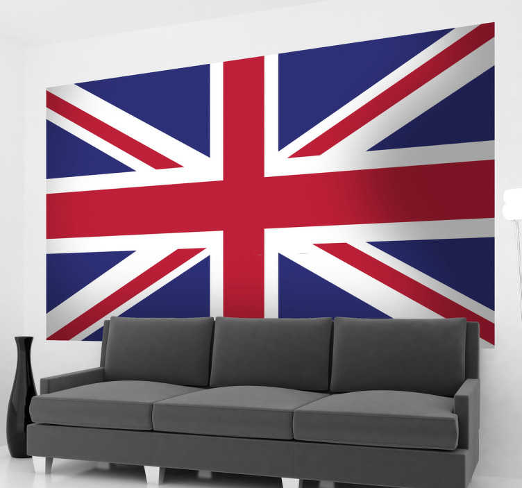 TenStickers. 英国国旗贴纸. 联盟杰克旗墙贴纸个性化您的卧室,客厅,车辆等!设计汇集了英国各国:英格兰,威尔士,苏格兰和北爱尔兰,将您的房间装饰完美地融合在一起。