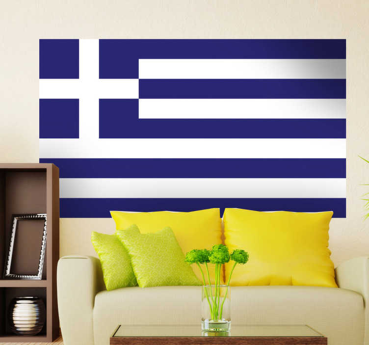 TenStickers. Greece Flag Sticker. Decals - The Greek flag. Ideal for homes or businesses. Suitable for decorating gadgets and appliances. Available in various sizes.