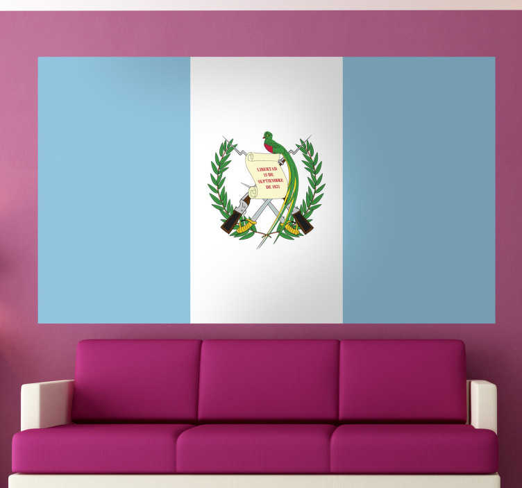 TenStickers. Sticker decorativo bandiera Guatemala. Adesivo murale che raffigura la bandiera del noto stato centroamericano che confina a nord con il Messico e a sud con El Salvador e Honduras.