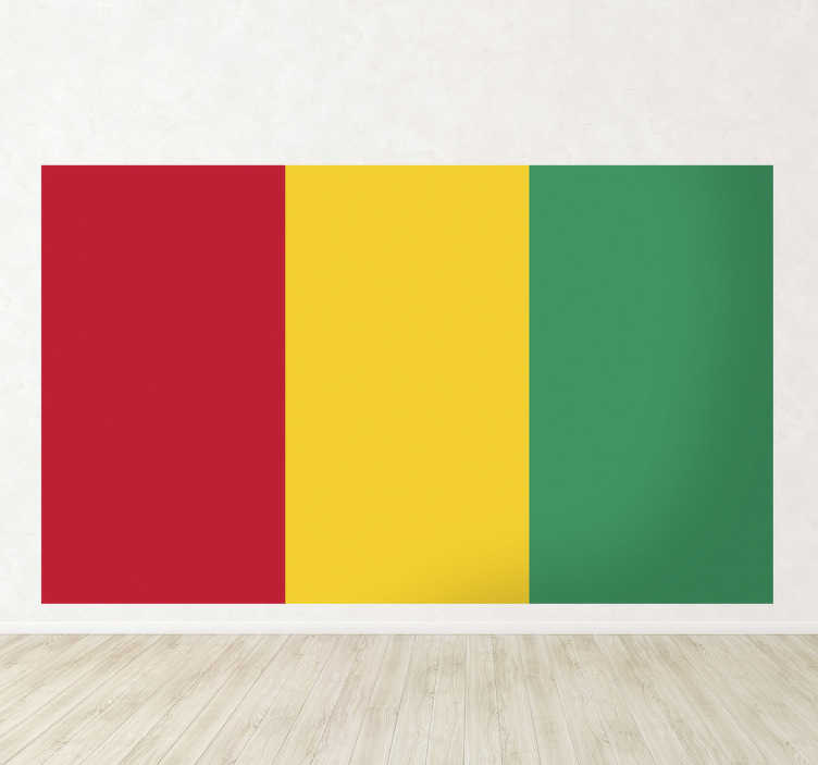 TenStickers. Muursticker vlag Guinee. Deze sticker omtrent de vlag van Guinee, ideaal voor grote fans van dit land. Afmetingen aanpasbaar. 10% korting bij inschrijving.