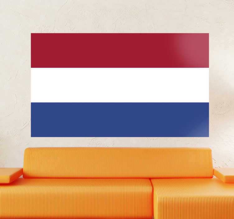 TenStickers. Autocollant mural drapeau Pays Bas. Stickers adhésif du drapeau des Pays-Bas qui a pour capitale Amsterdam, pour tous les amoureux de ce pays.