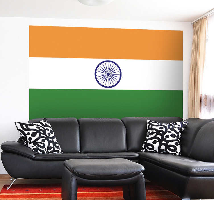 TenStickers. Muursticker vlag India. Deze muursticker omtrent de vlag van India. Ideaal voor grote fans van dit land en haar cultuur. Express verzending 24/48u.