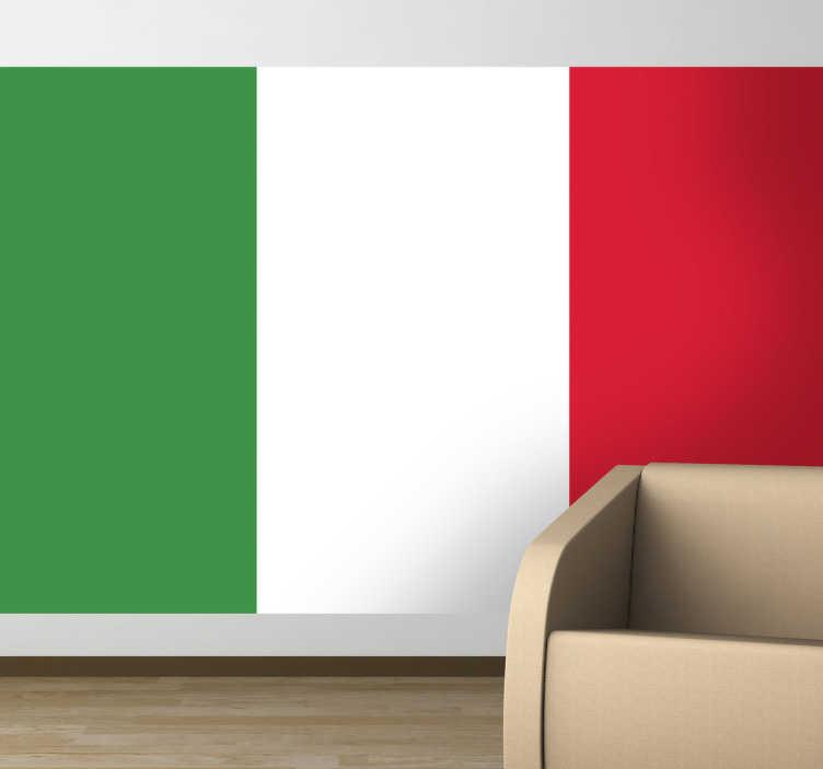 TenStickers. Adesivo murale bandiera Italia. Sticker decorativo che raffigura il Tricolore italiano. Adesivi Italia per italiani orgogliosi del proprio paese.