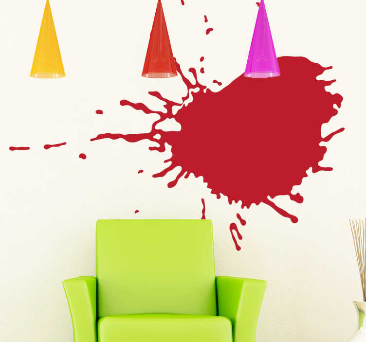 TenStickers. Boya sıçrama çıkartması. Duvar çıkartmaları - duvarlarda renk bir sıçrama. Seçtiğiniz bir boyut ve renk seçin. Evde en sevdiğiniz alanı süslemek için mükemmel.