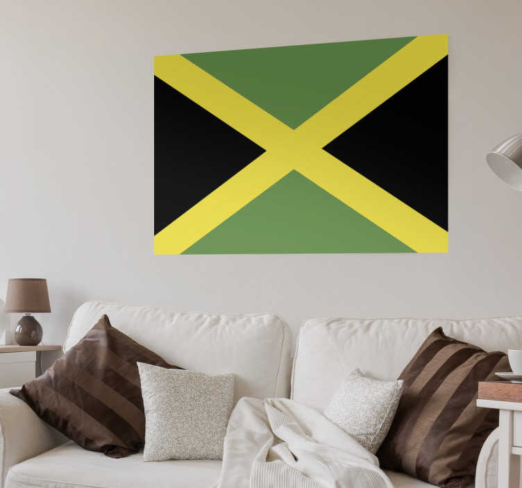 TenStickers. Jamaica Flag Wall Sticker. Wall Stickers - Wall mural of the Jamaican flag. The origin of Legend Bob Marley and World Olympic Champion Usain Bolt.
