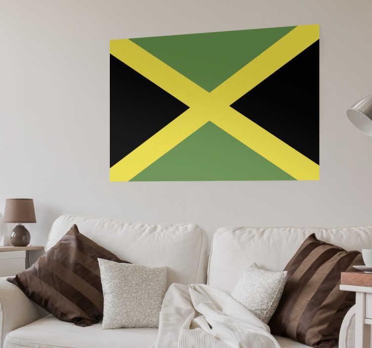 TenStickers. Muursticker vlag Jamaica. Deze muursticker omtrent de vlag van Jamaica. Ideaal voor grote fans van dit land en haar cultuur. 10% korting bij inschrijving.
