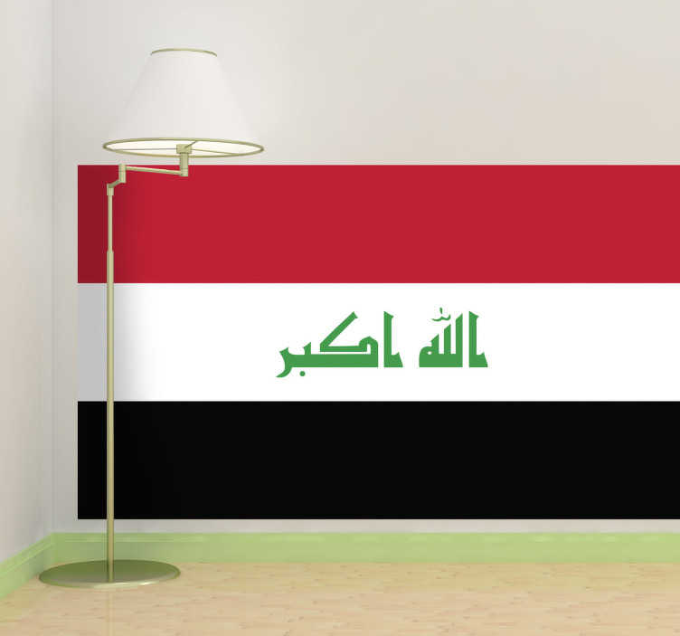 TenStickers. Autocollant mural drapeau Irak. Stickers adhésif du drapeau de l'Irak qui a pour capitale Bagdad, pour tous les amoureux de ce pays.