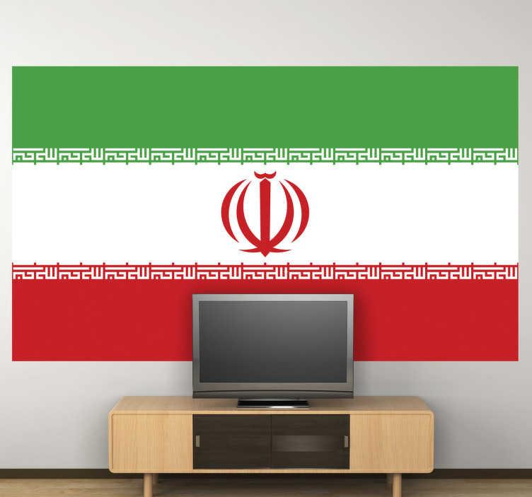 TenStickers. Autocollant mural drapeau Iran. Stickers adhésif du drapeau de l'Iran qui a pour capitale Téhéran, pour tous les amoureux de ce pays.