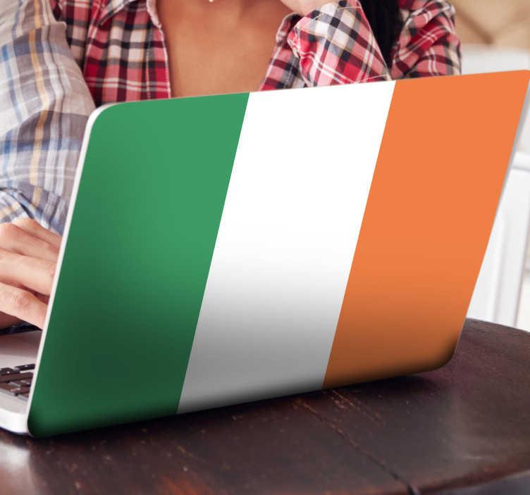 TenVinilo. Vinilo decorativo bandera Irlanda. Adhesivo tricolor con el emblema característico de esta isla británica con capital en Dublín.