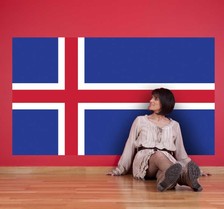 TenStickers. Adesivo murale bandiera Islanda. Sticker decorativo che raffigura la bandiera del noto stato-isola situato nell'estremo nord dell'Europa e avente per capitale la città di Reykjavík.