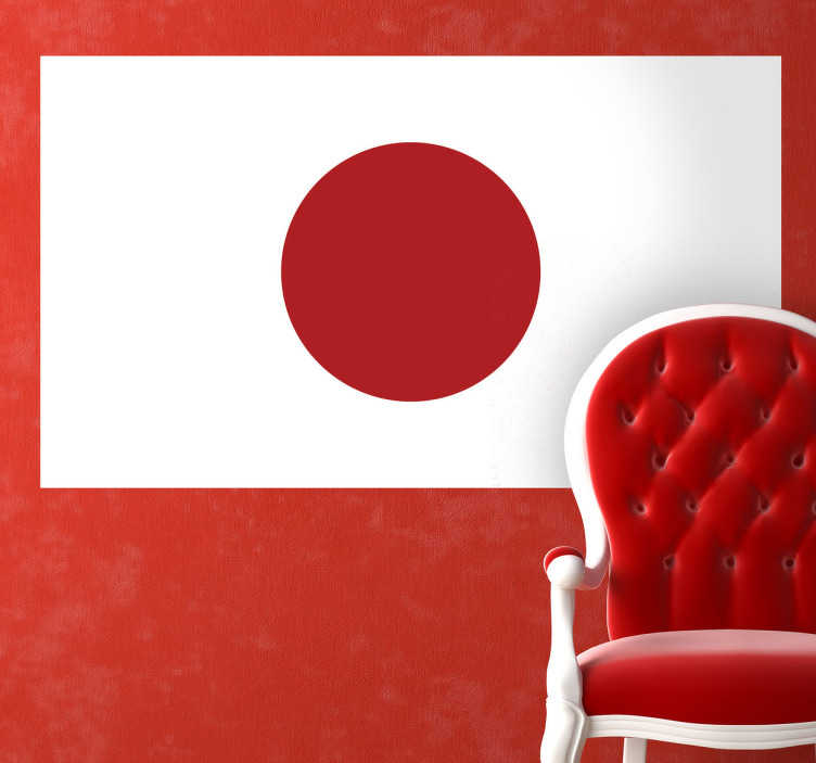 TenStickers. Japan Flag Sticker. A design illustration of the Japanese flag from our collection of Japanese wall stickers to decorate any space at home or work.